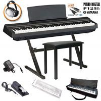 Kit completo Piano Digital YAMAHA P125B Preto Com Estante em Z