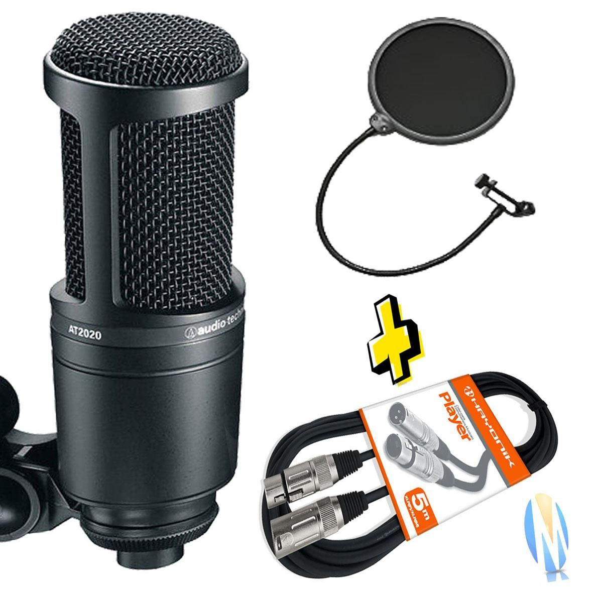 KIT Microfone Audio Technica At2020 + Cabo XLR+ Pop Filter
